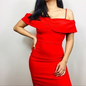 NEW! Flynn Skye | Off-the-shoulder Red Midi Dress